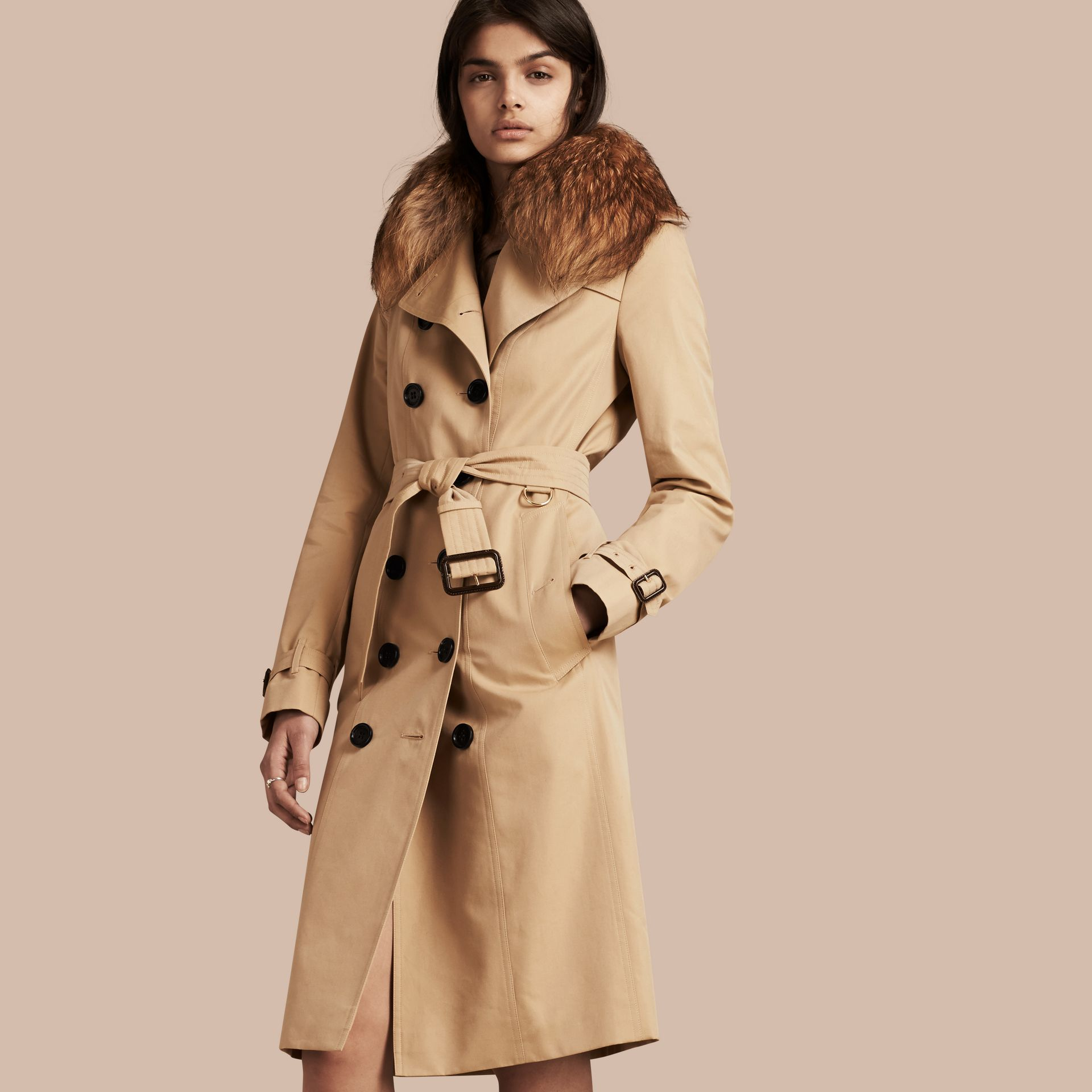 Honey Cotton Gabardine Trench Coat with Detachable Raccoon Collar - gallery image 1