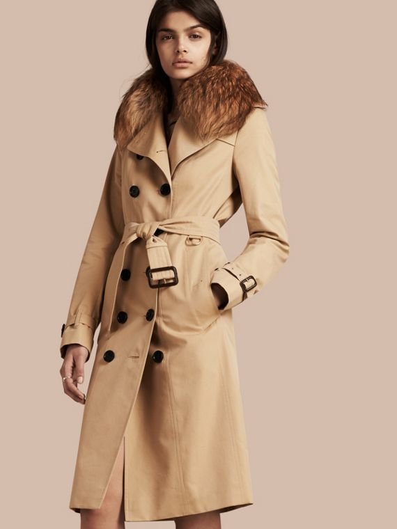 Cotton Gabardine Trench Coat with Detachable Raccoon Collar