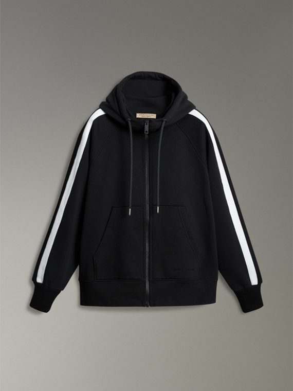 Stripe Detail Cotton Blend Jersey Hooded Top in Black - Men | Burberry Hong Kong - cell image 3