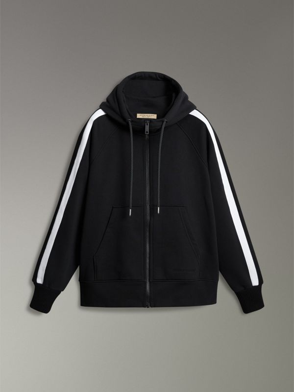 Stripe Detail Cotton Blend Jersey Hooded Top in Black - Men | Burberry - cell image 3