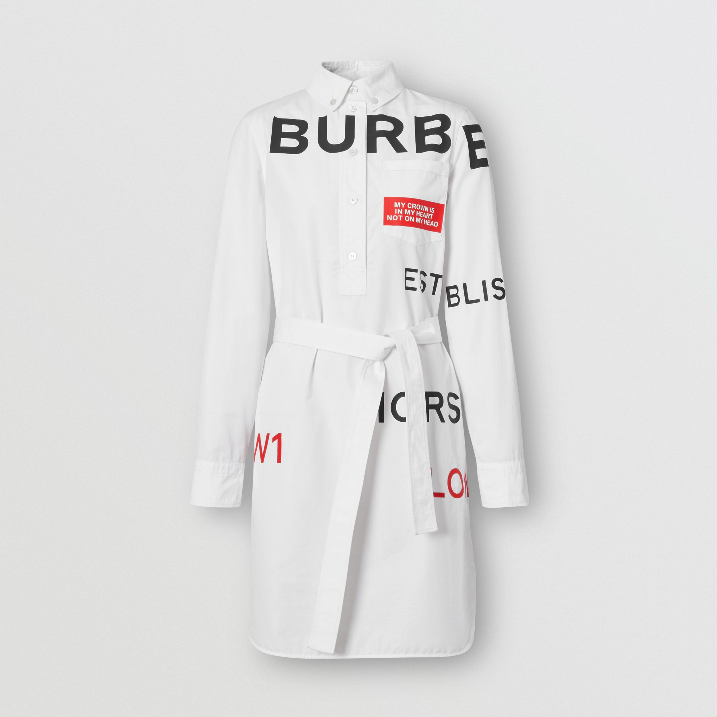 Horseferry Print Cotton Tie-waist Shirt Dress in White - Women | Burberry - 4