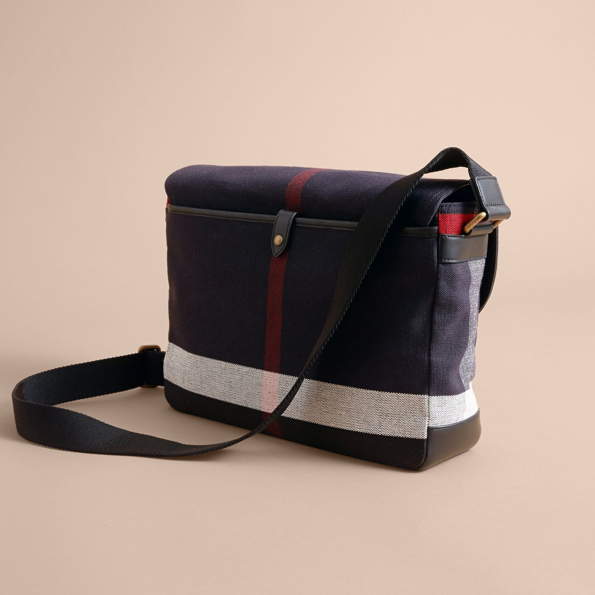 Medium Canvas Check Messenger Bag in Black - Men | Burberry - gallery image 4