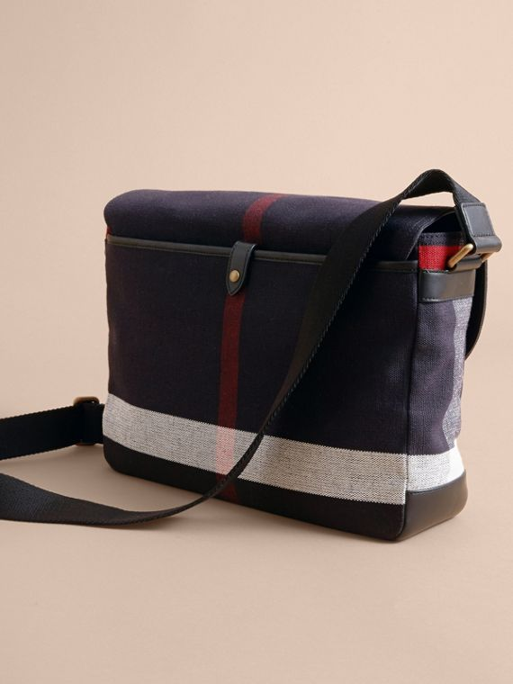 Medium Canvas Check Messenger Bag in Black - Men | Burberry - cell image 3