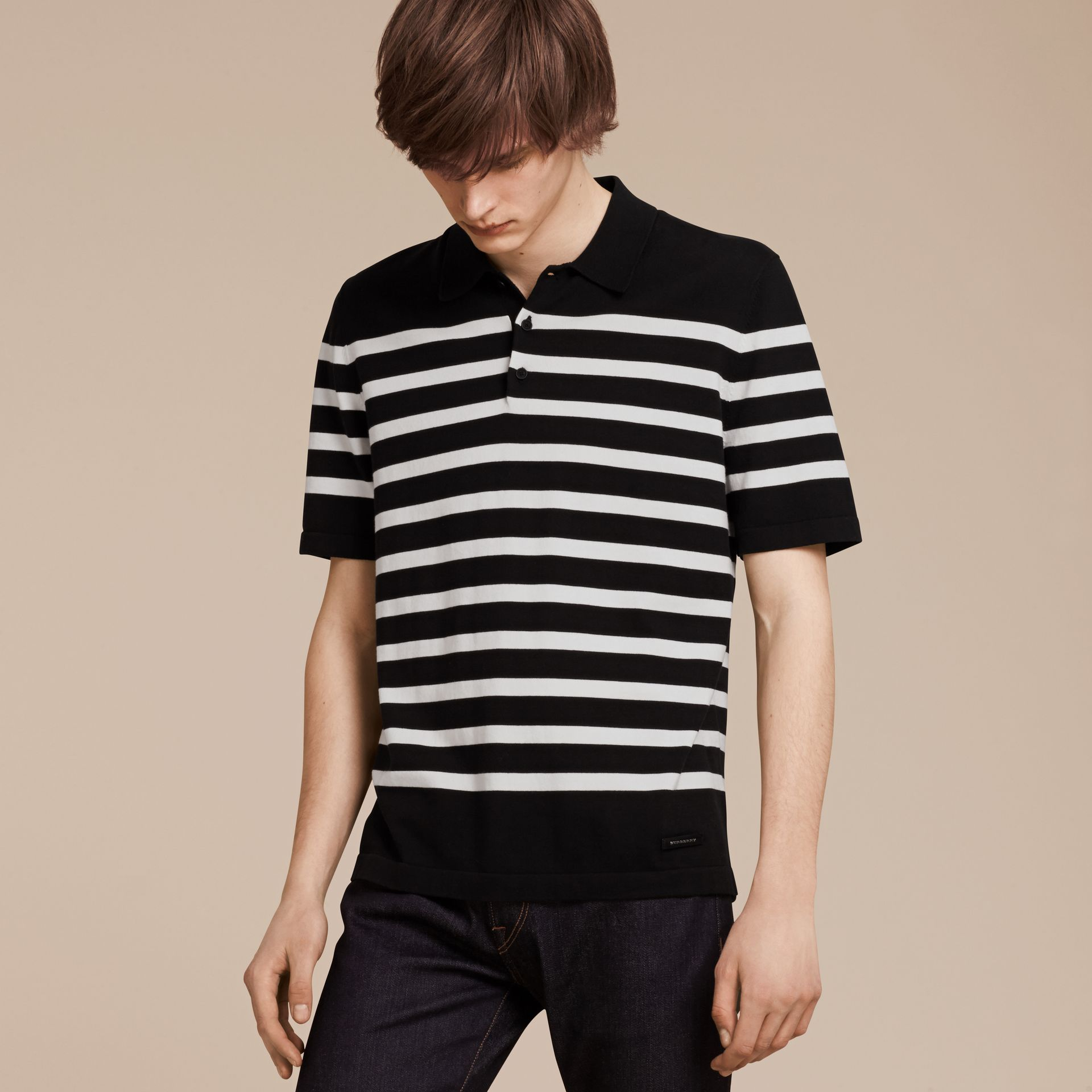 Black/white Striped Cotton Polo Shirt Black/white - gallery image 6