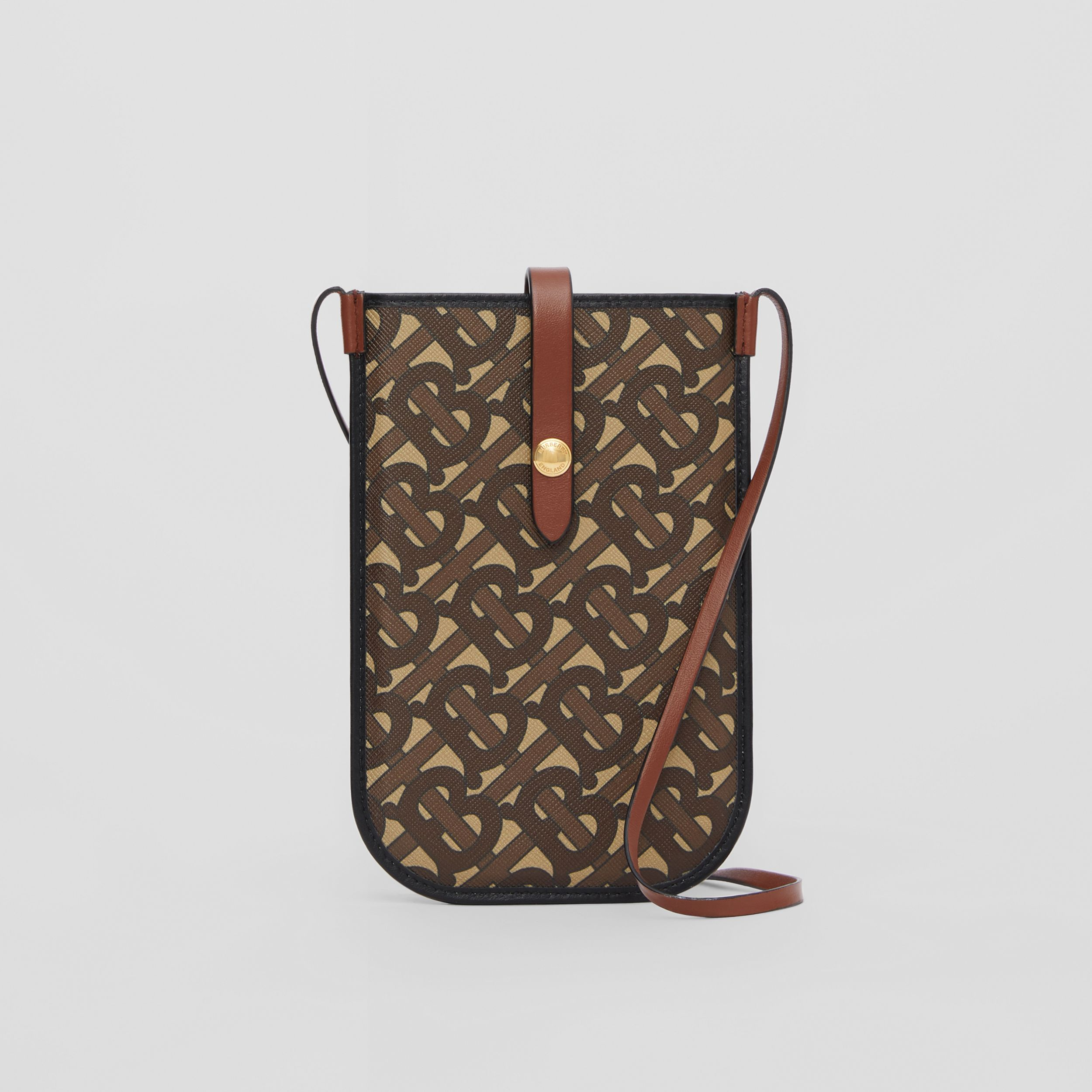 Monogram Print E-canvas Phone Case with Strap in Bridle Brown | Burberry - 1
