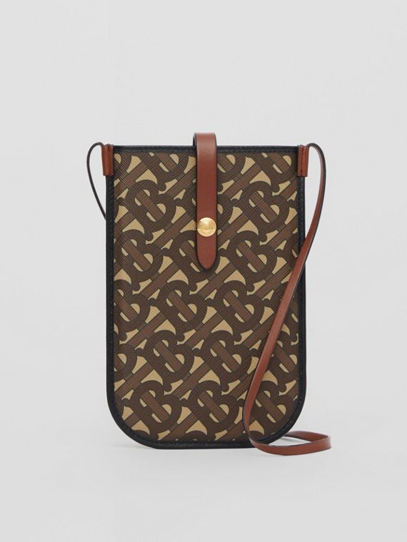 Monogram Print E-canvas Phone Case with Strap in Bridle Brown