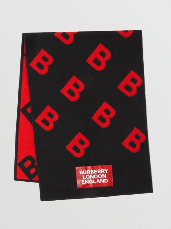 Capa estilo manta reversible en lana y cachemir con letras B (Negro / Rojo Intenso)