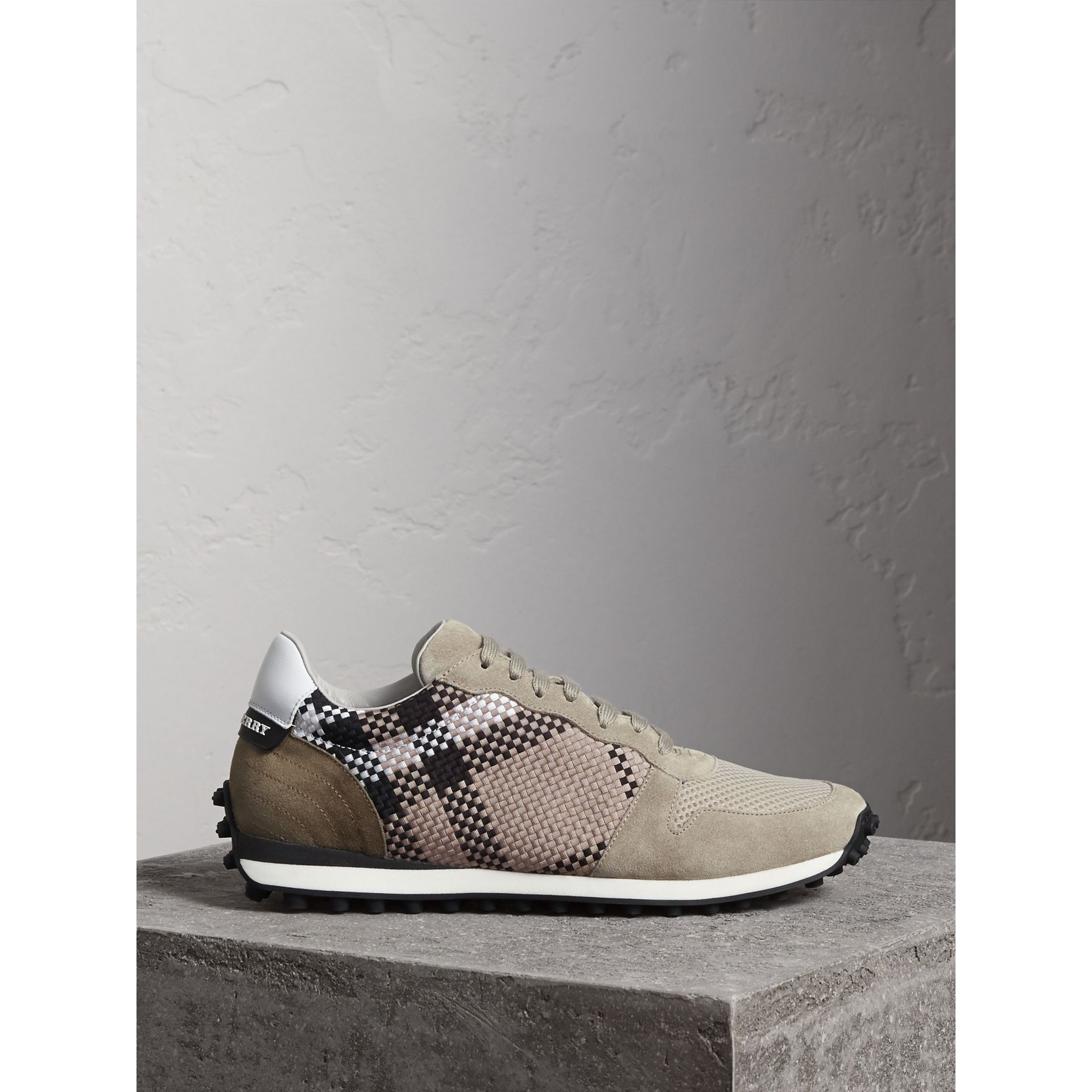 Woven Check Suede Trainers in Storm Grey - Men | Burberry - gallery image 0