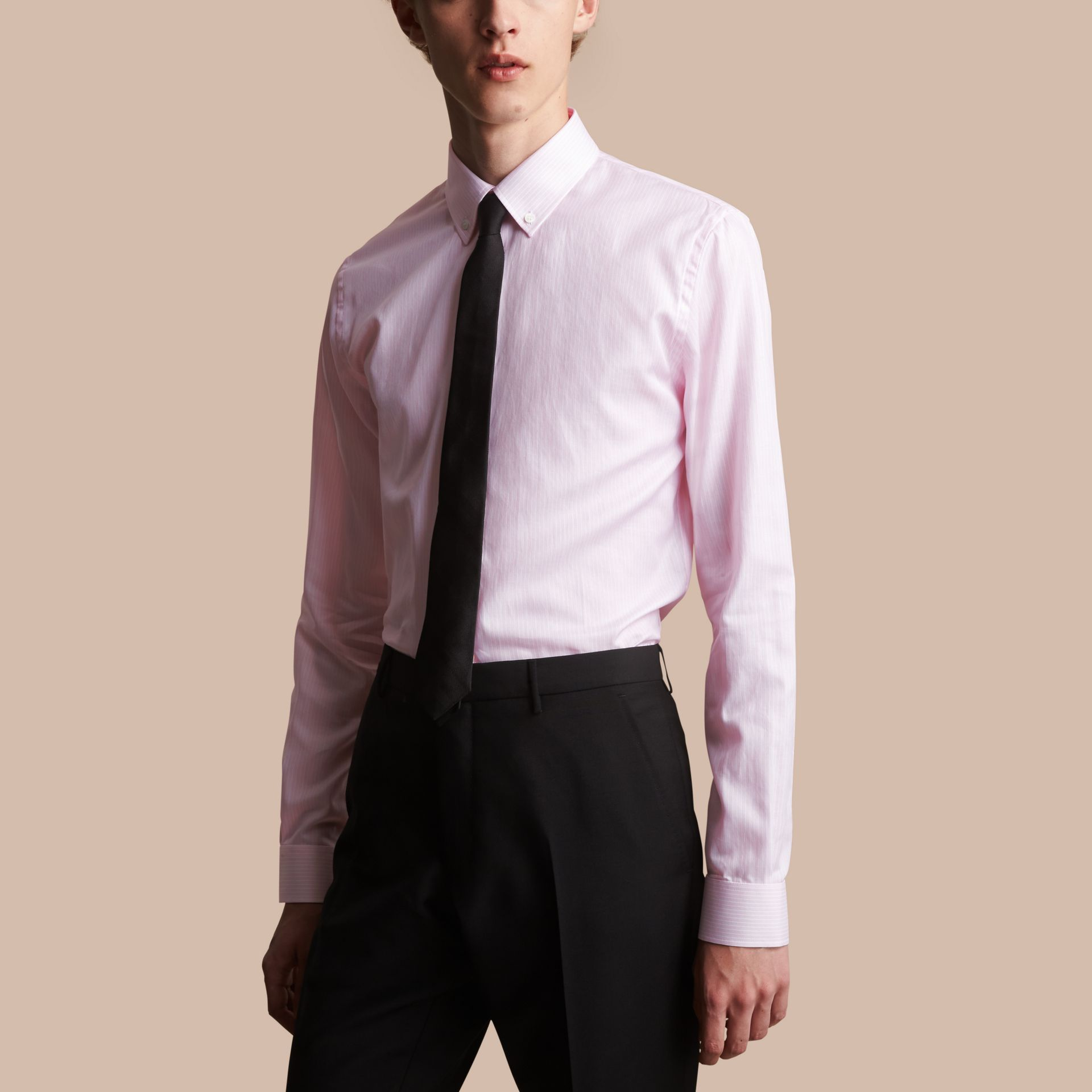 Slim Fit Button-down Collar Striped Cotton Poplin Shirt in City Pink - gallery image 1