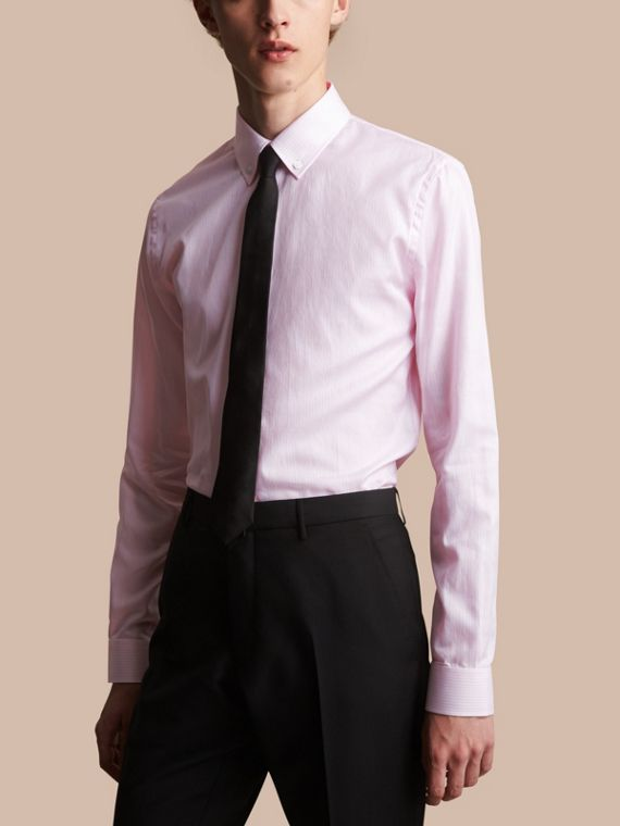 Slim Fit Button-down Collar Striped Cotton Poplin Shirt in City Pink