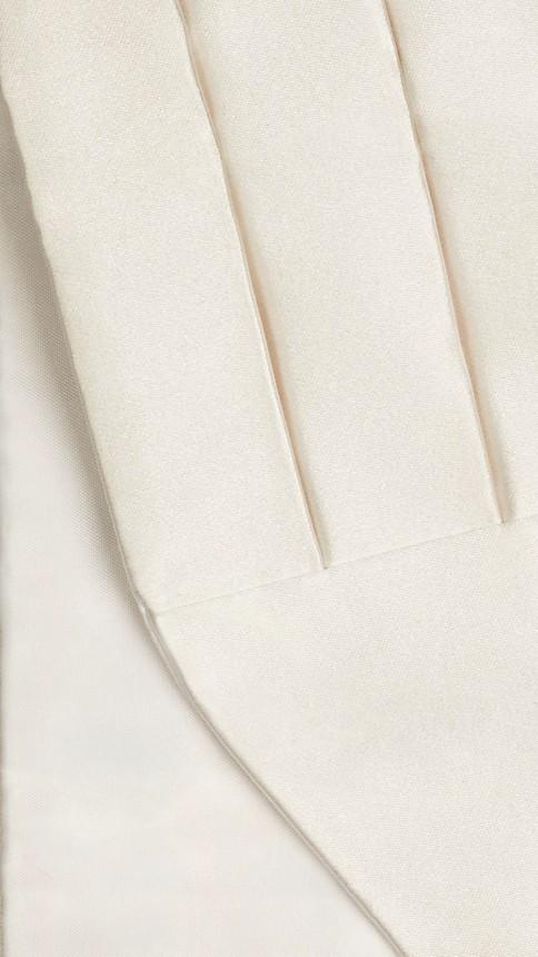 White Pleated Silk Cummerbund White - Image 2