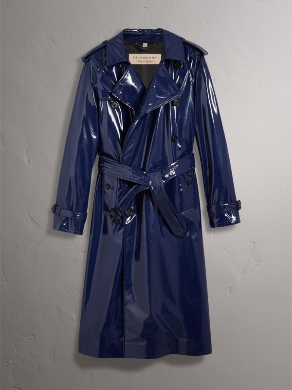 Laminated Cotton Trench Coat in Navy - Men | Burberry - cell image 3