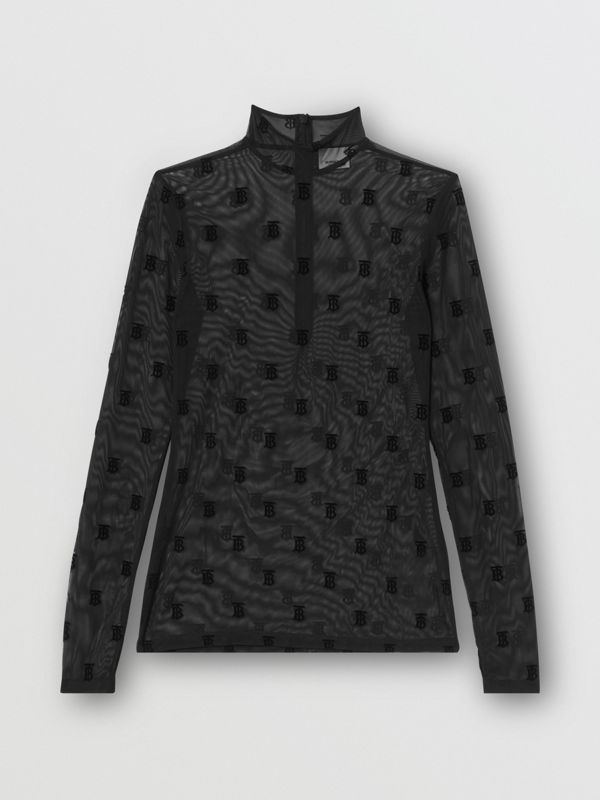 Monogram Motif Flock Mesh Turtleneck Top in Black - Women | Burberry - cell image 3