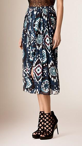 Tie-dye Print Silk Skirt