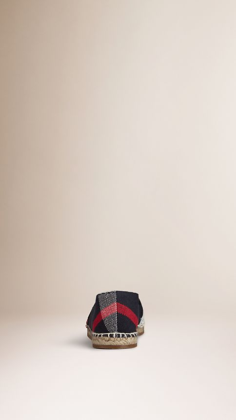 Navy check Check Jute Cotton Espadrilles - Image 3