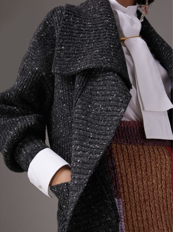 Wool Cashmere Blend Oversized Cardigan in Black - Women | Burberry United Kingdom - cell image 1