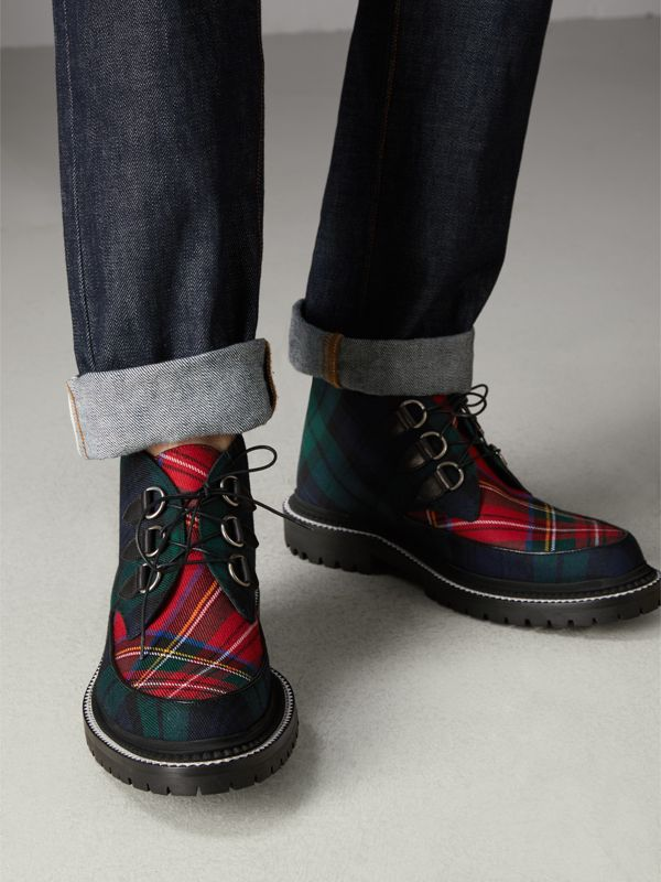 Tartan Wool and Leather Ankle Boots in Black - Men | Burberry - cell image 2