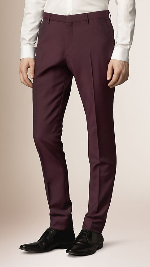 Claret Slim Fit Wool Mohair Trousers - Image 1