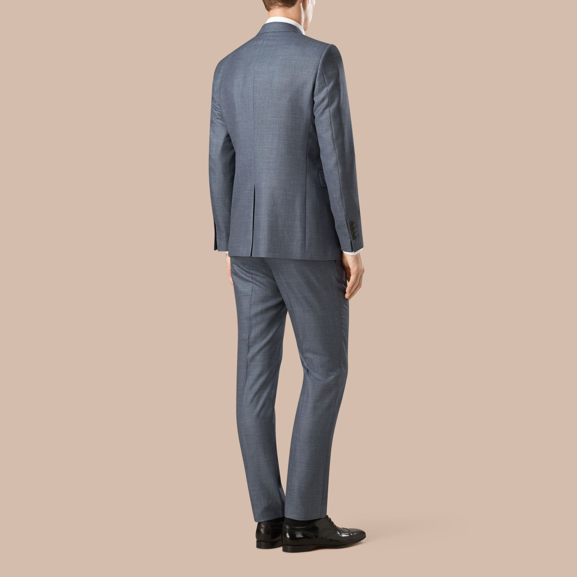 Steel blue Modern Fit Wool Silk Linen Half-canvas Suit - gallery image 2