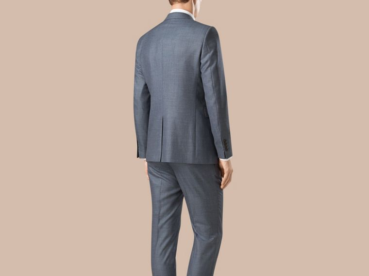 Steel blue Modern Fit Wool Silk Linen Half-canvas Suit - cell image 1