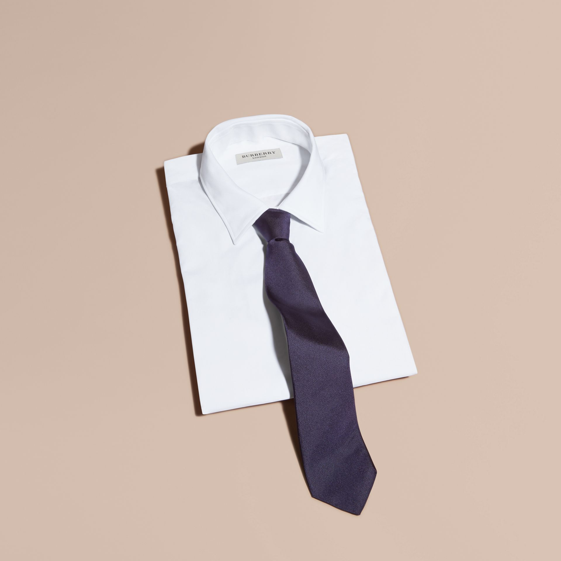 Navy Modern Cut Silk Twill Tie Navy - gallery image 4