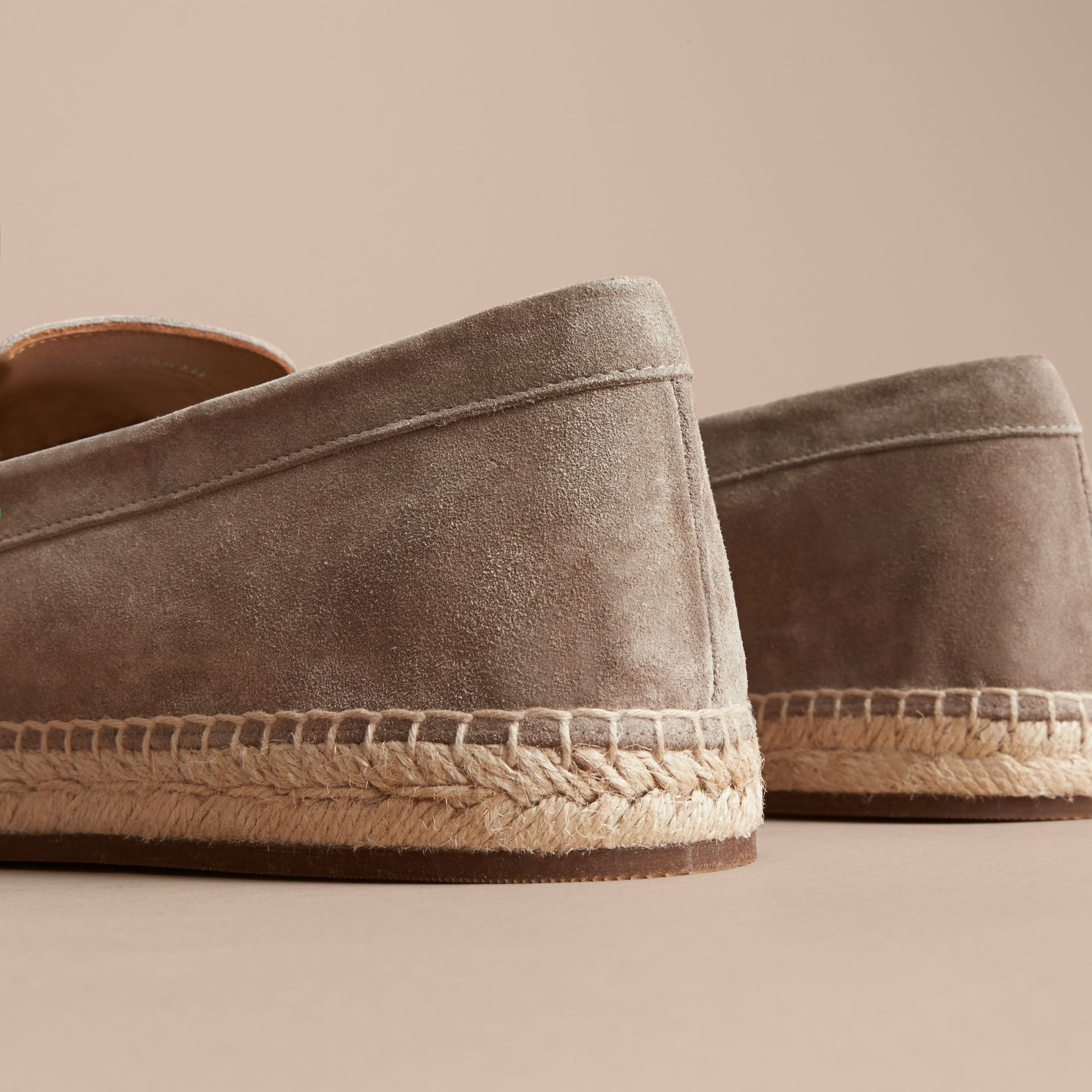 Tasselled Suede Espadrille Loafers in Light Taupe Brown - gallery image 4
