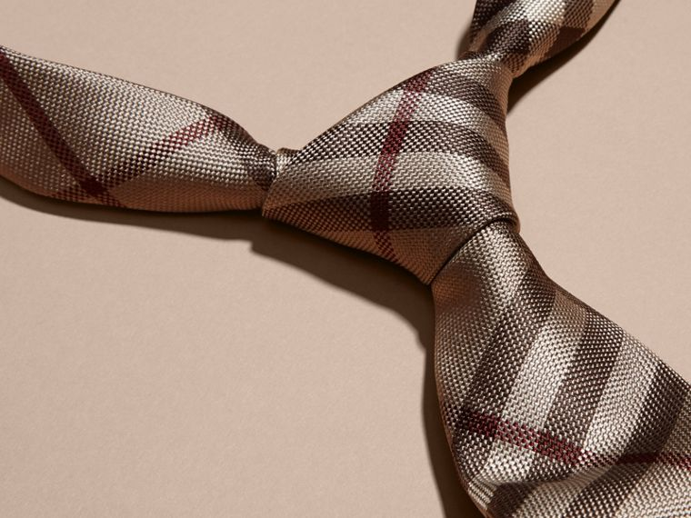 Smoked trench Modern Cut Check Silk Tie - cell image 1