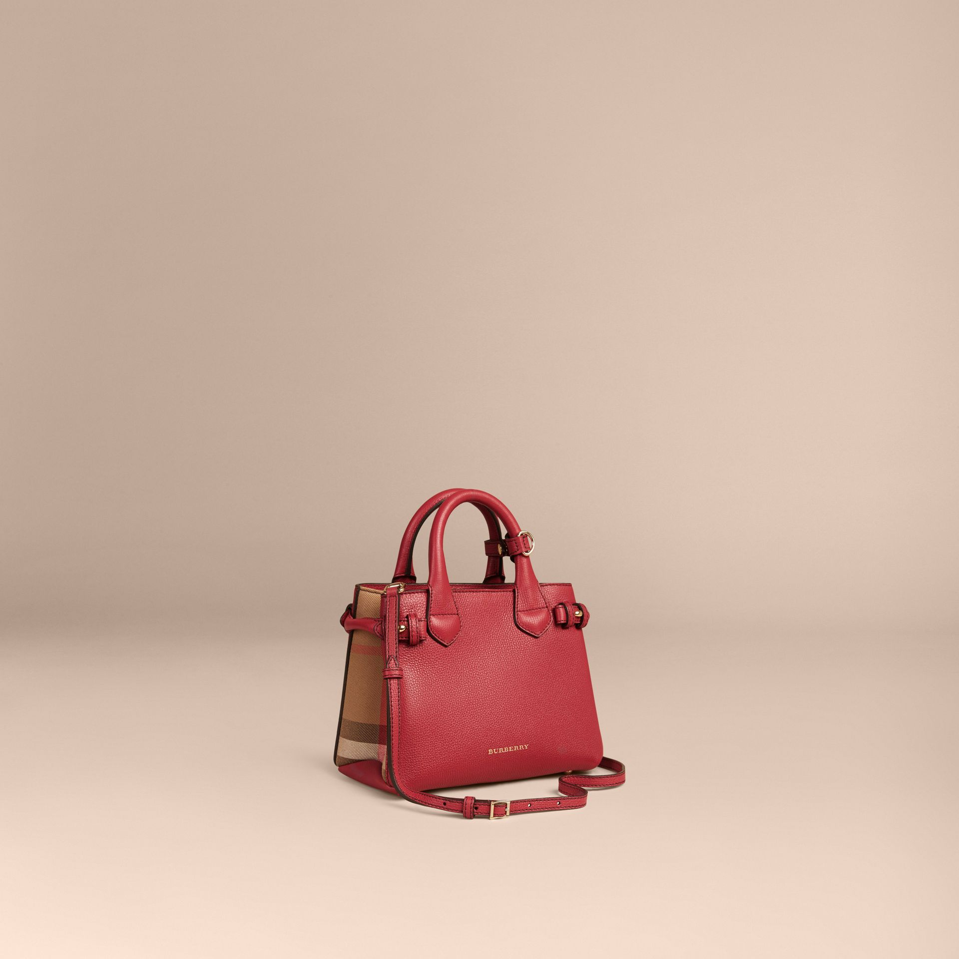 The Baby Banner en cuir et coton House check (Rouge Feuille Morte) - Femme | Burberry - photo de la galerie 1
