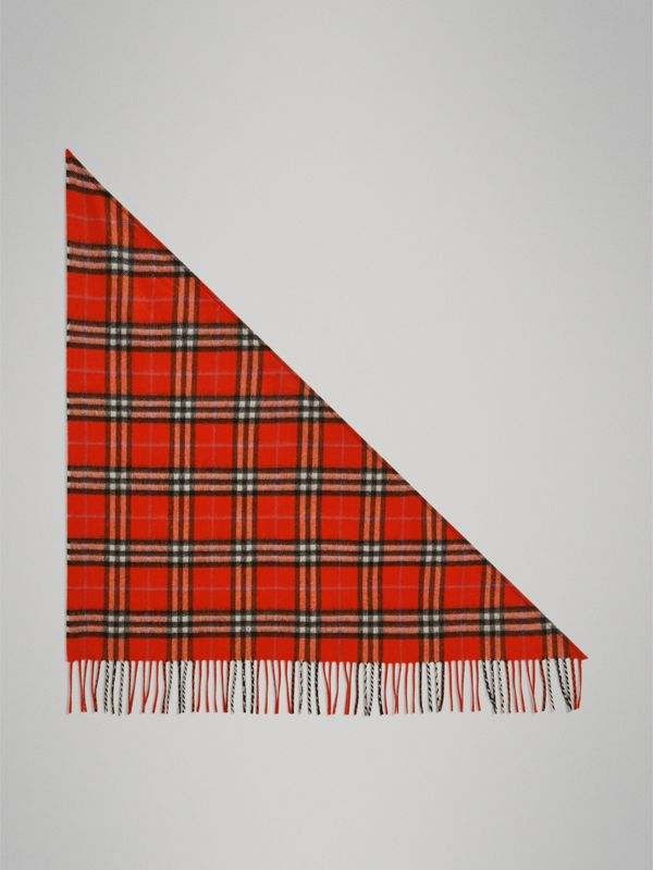 The Mini Burberry Bandana in Check Cashmere in Bright Red | Burberry United Kingdom - cell image 3