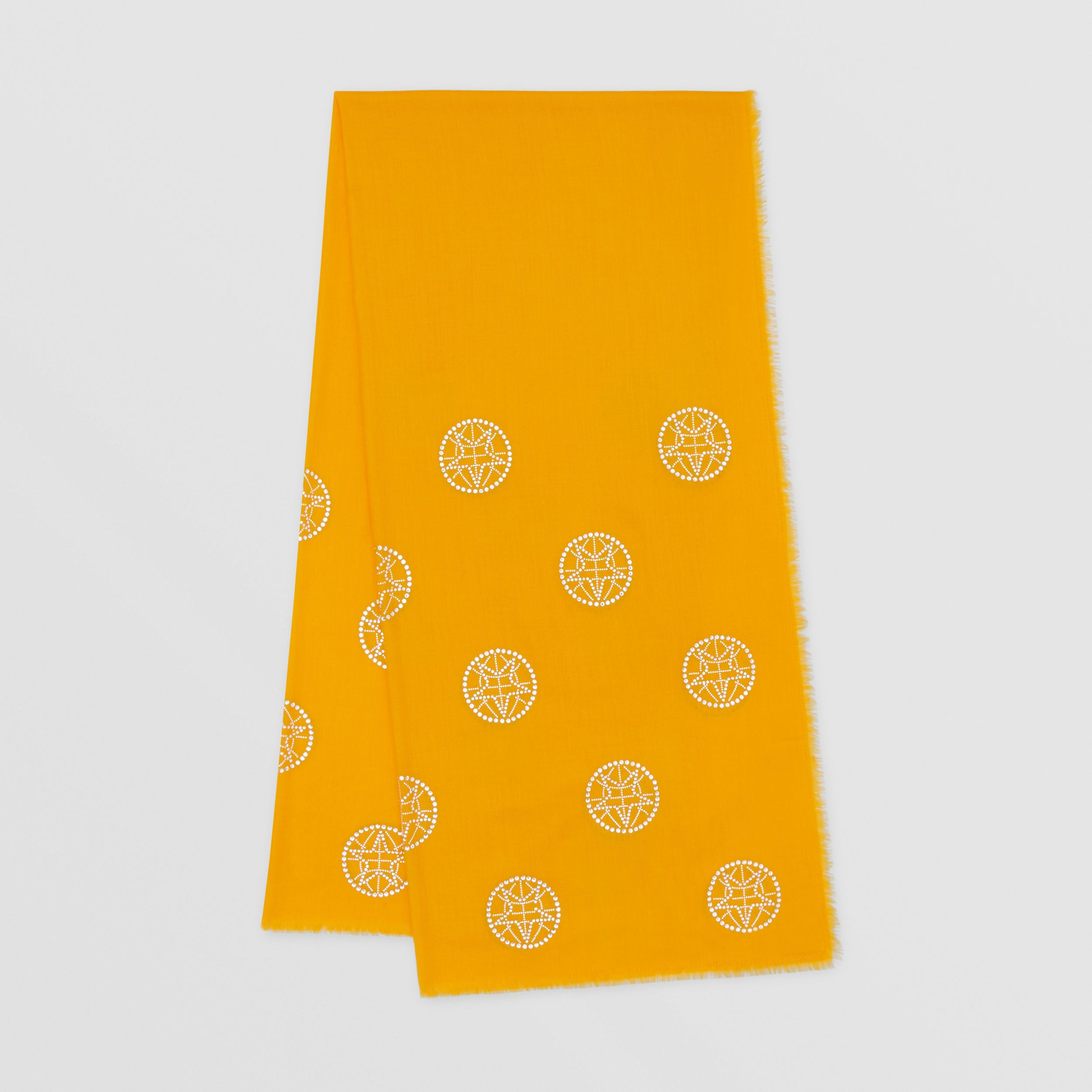Crystal Globe Graphic Lightweight Cashmere Scarf in Citrus Orange | Burberry - 1