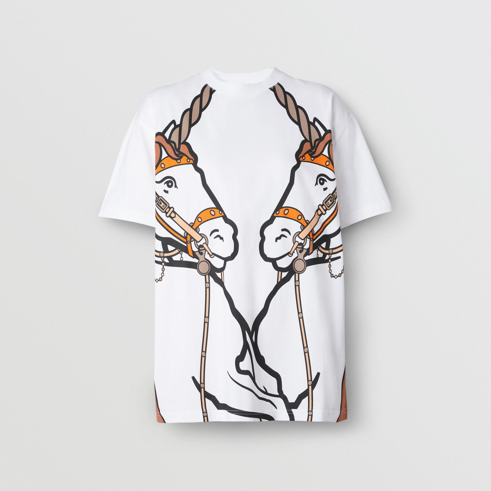 Unicorn Print Cotton Oversized T-shirt in White - Women | Burberry - gallery image 3