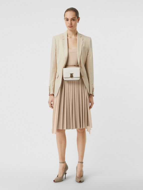 Pleated Panel Wool Silk Linen Tailored Jacket in Sesame