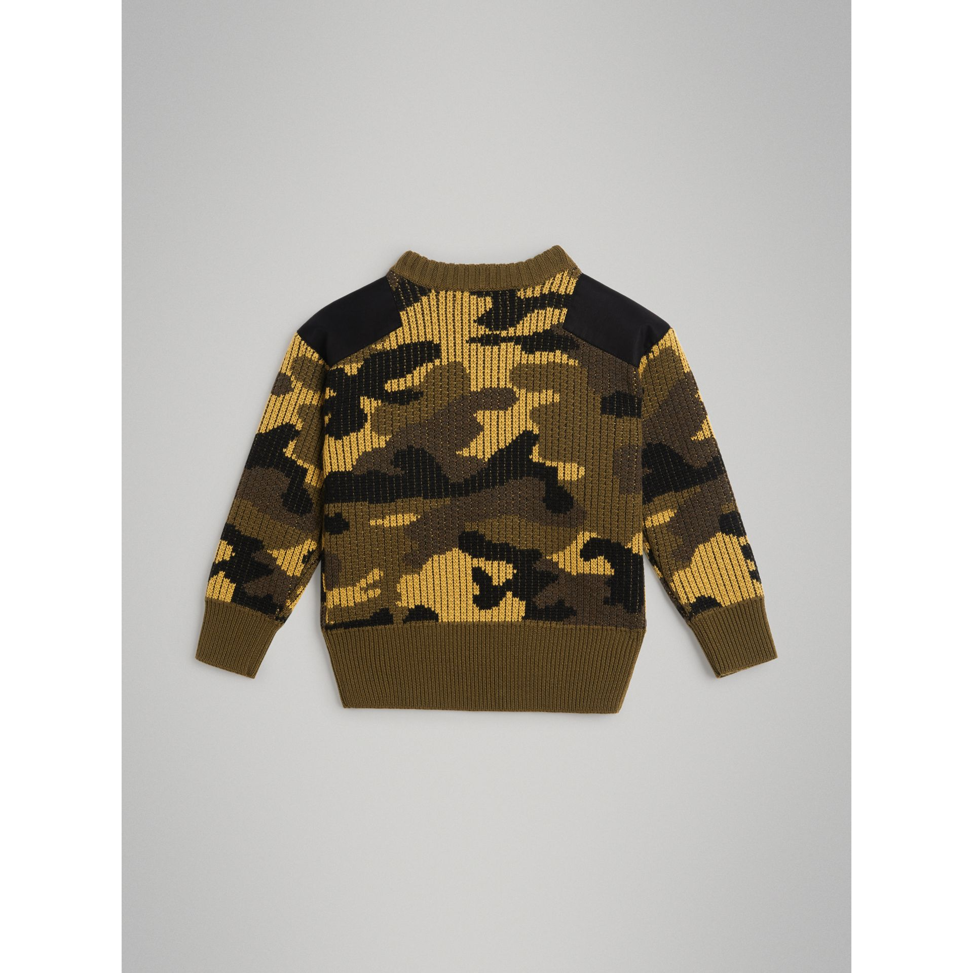 Camouflage Merino Wool Jacquard Sweater in Khaki Green | Burberry - gallery image 3