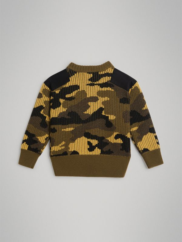 Camouflage Merino Wool Jacquard Sweater in Khaki Green | Burberry Australia - cell image 3