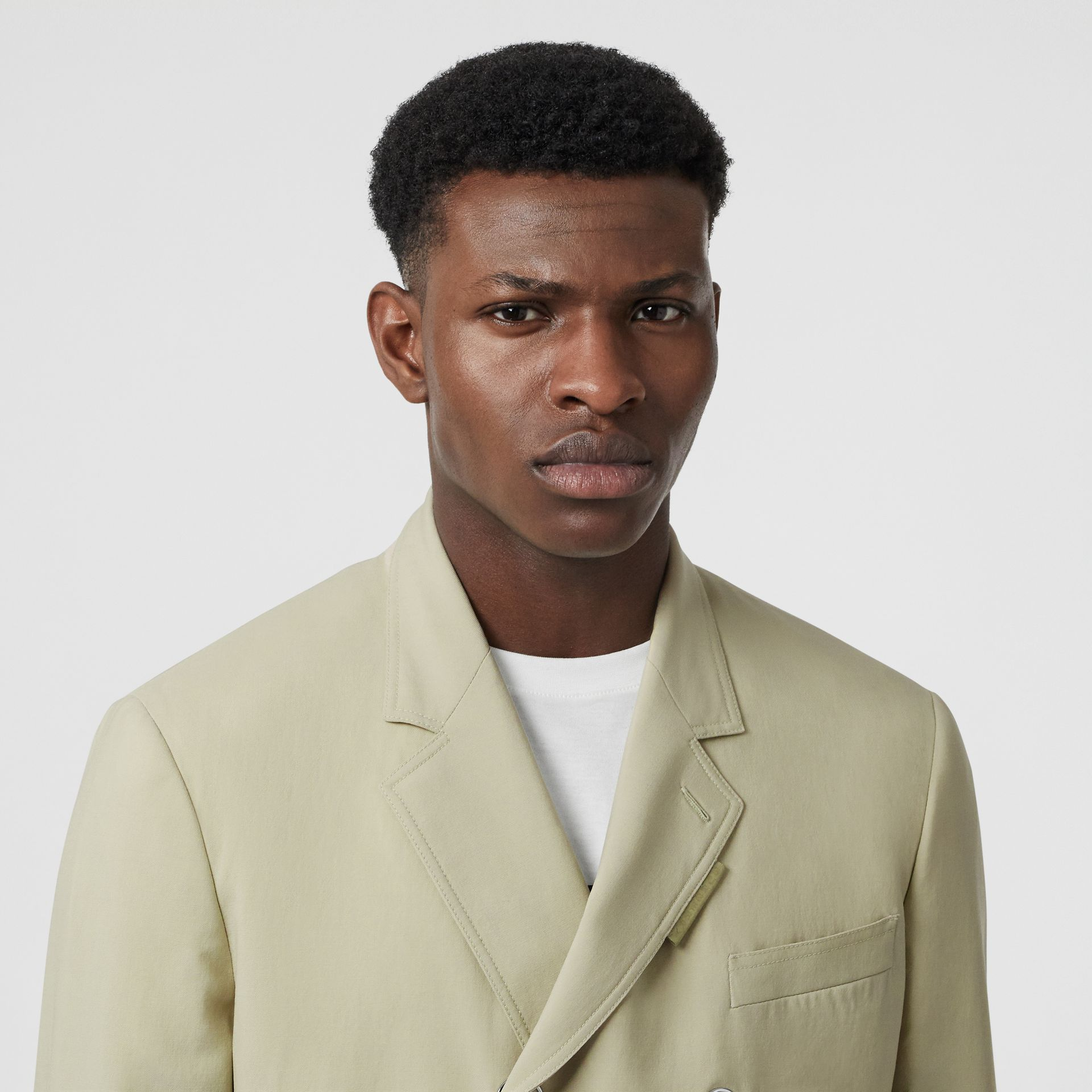 Slim Fit Press-stud Wool Tailored Jacket in Matcha | Burberry - gallery image 9
