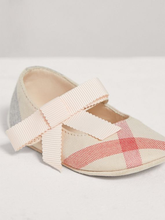 Bow Detail Check Cotton and Leather Ballerinas in Pale Classic | Burberry - cell image 3