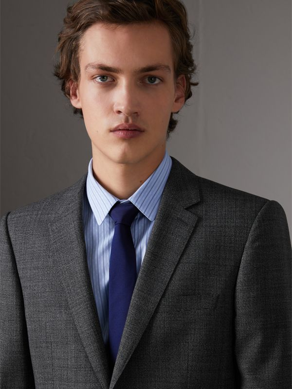 Slim Cut Check Silk Twill Tie in Navy - Men | Burberry United States - cell image 2