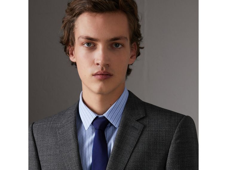 Slim Cut Check Silk Twill Tie in Navy - Men | Burberry - cell image 2