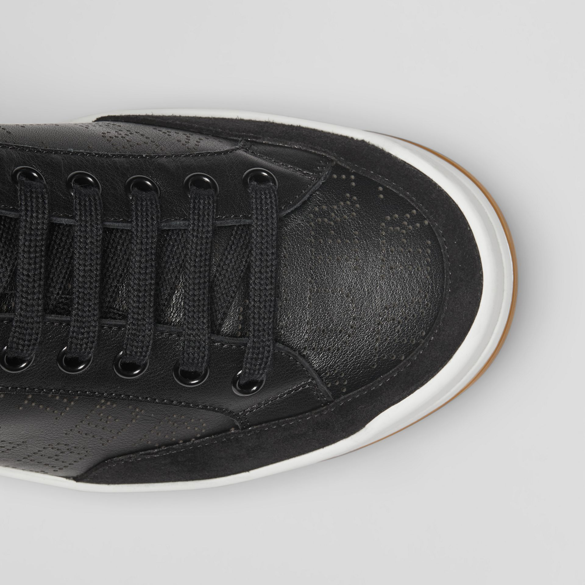 Logo Print Leather Sneakers in Black - Men | Burberry United Kingdom - gallery image 1