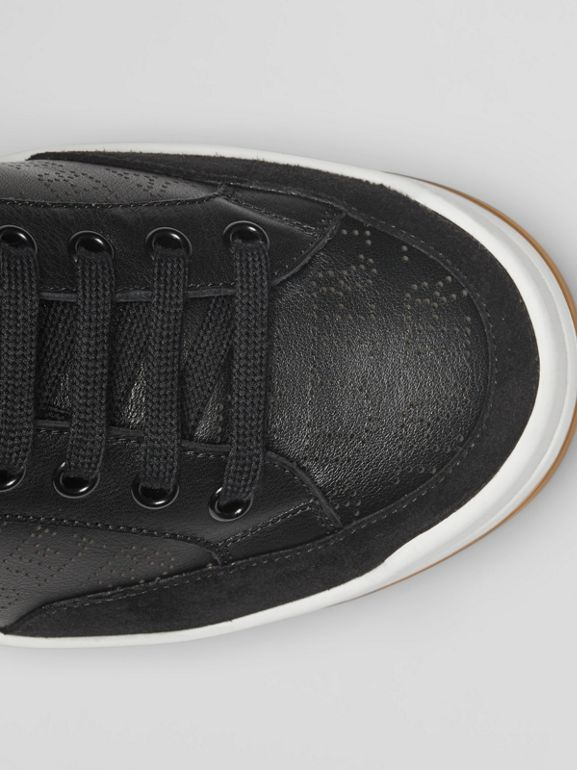 Logo Print Leather Sneakers in Black - Men | Burberry - cell image 1