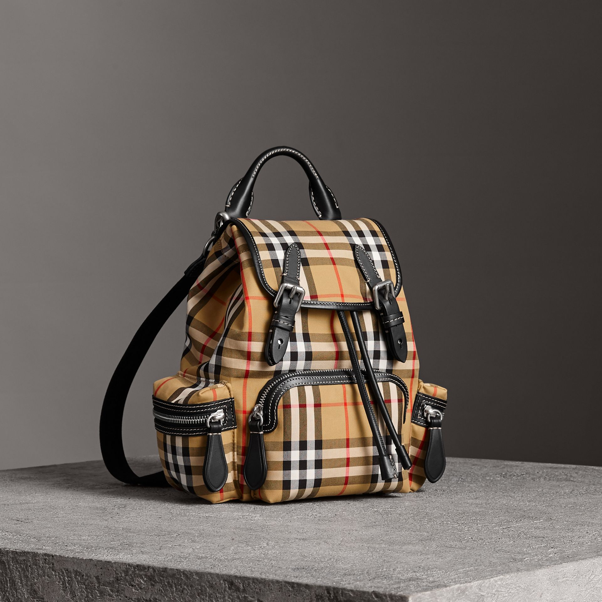 The Crossbody Rucksack in Vintage Check and Leather in Antique Yellow - Women | Burberry - gallery image 0