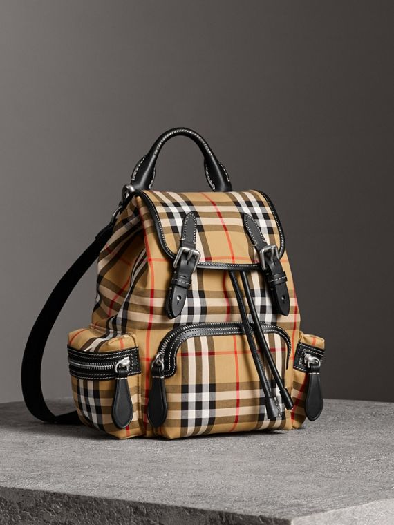 The Crossbody Rucksack in Vintage Check and Leather in Antique Yellow