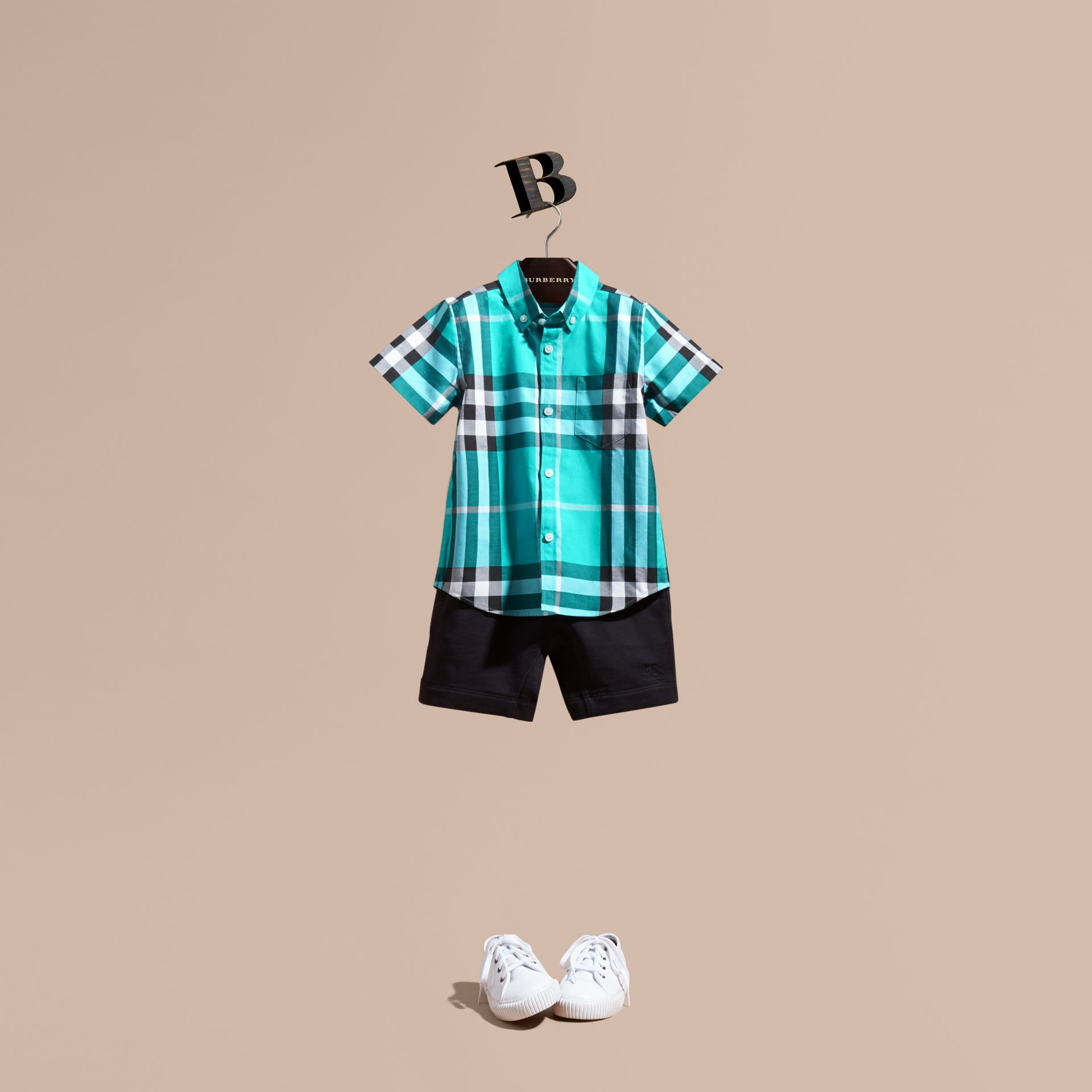 Short-sleeve Check Cotton Twill Shirt in Cyan Green - Boy | Burberry - gallery image 1