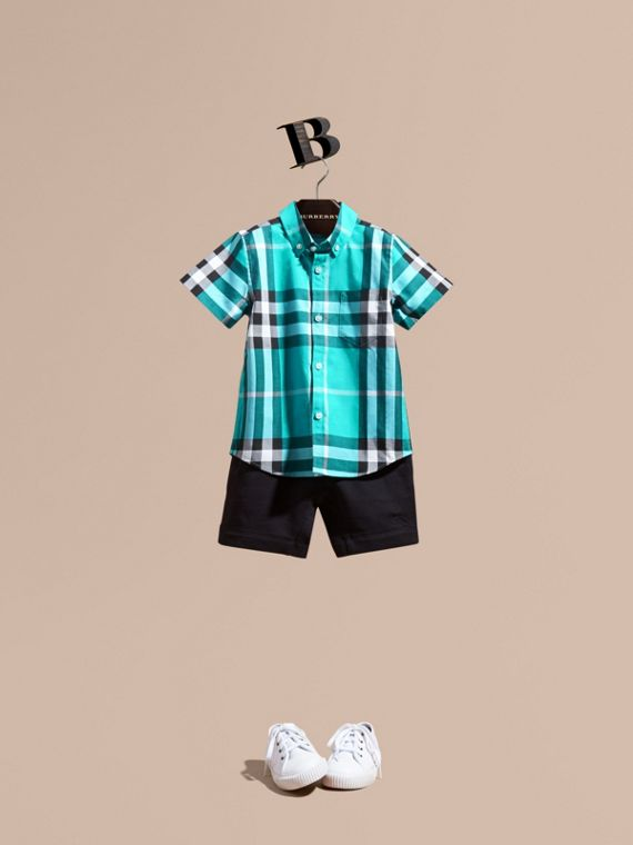 Short-sleeve Check Cotton Twill Shirt Cyan Green