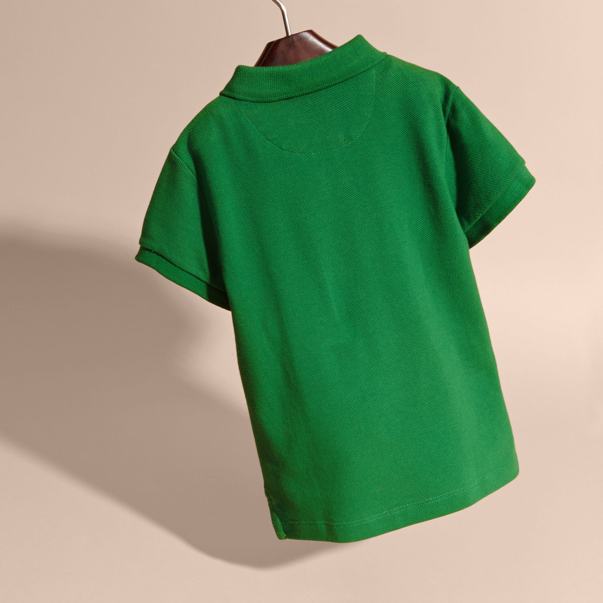 Check Placket Polo Shirt in Bright Pigment Green - gallery image 4