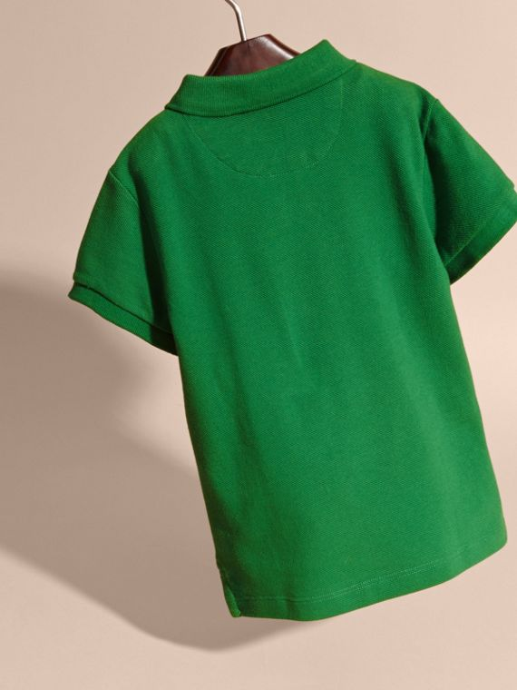 Check Placket Polo Shirt in Bright Pigment Green - cell image 3