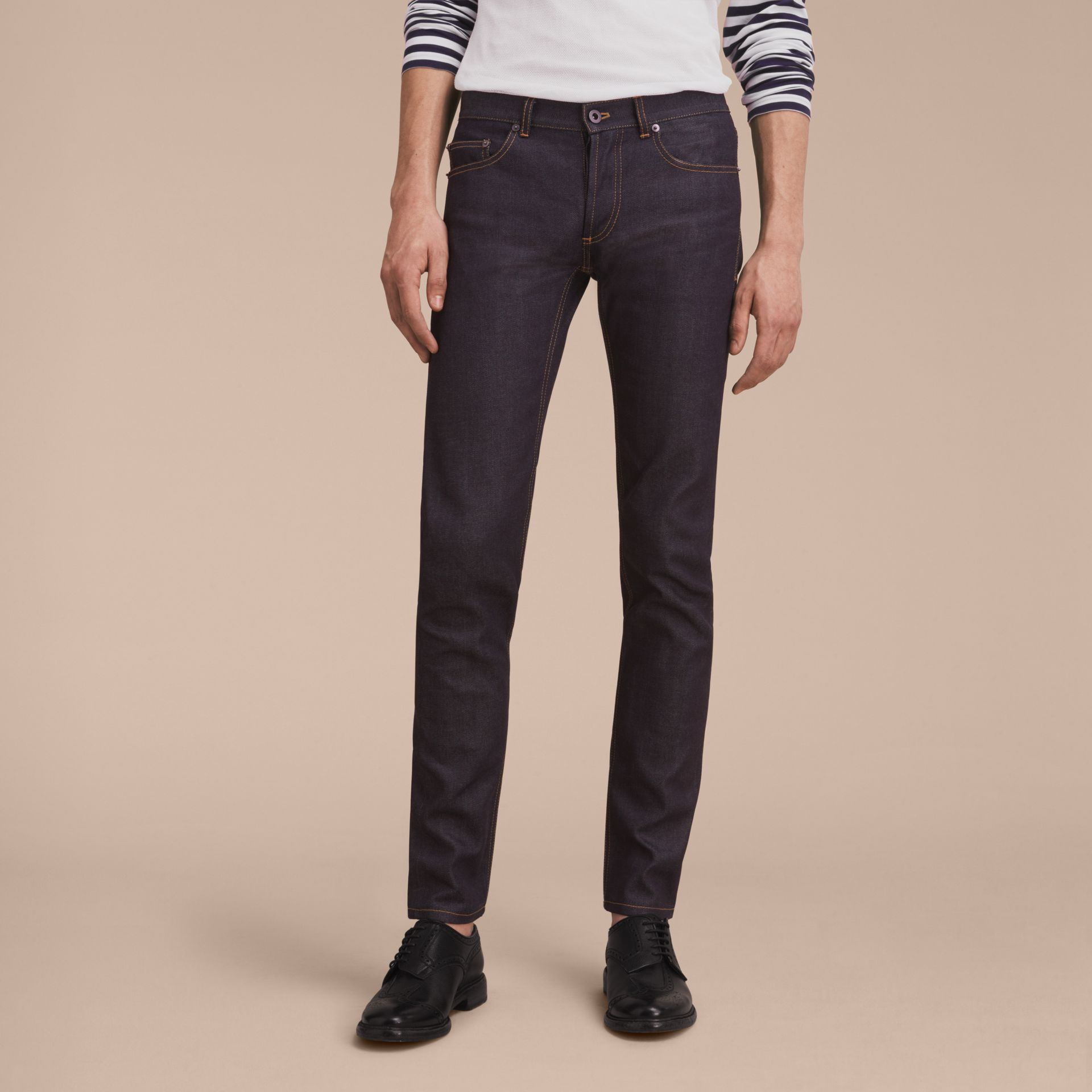 Slim Fit Raw Indigo Denim Jeans - Men | Burberry United Kingdom - gallery image 5