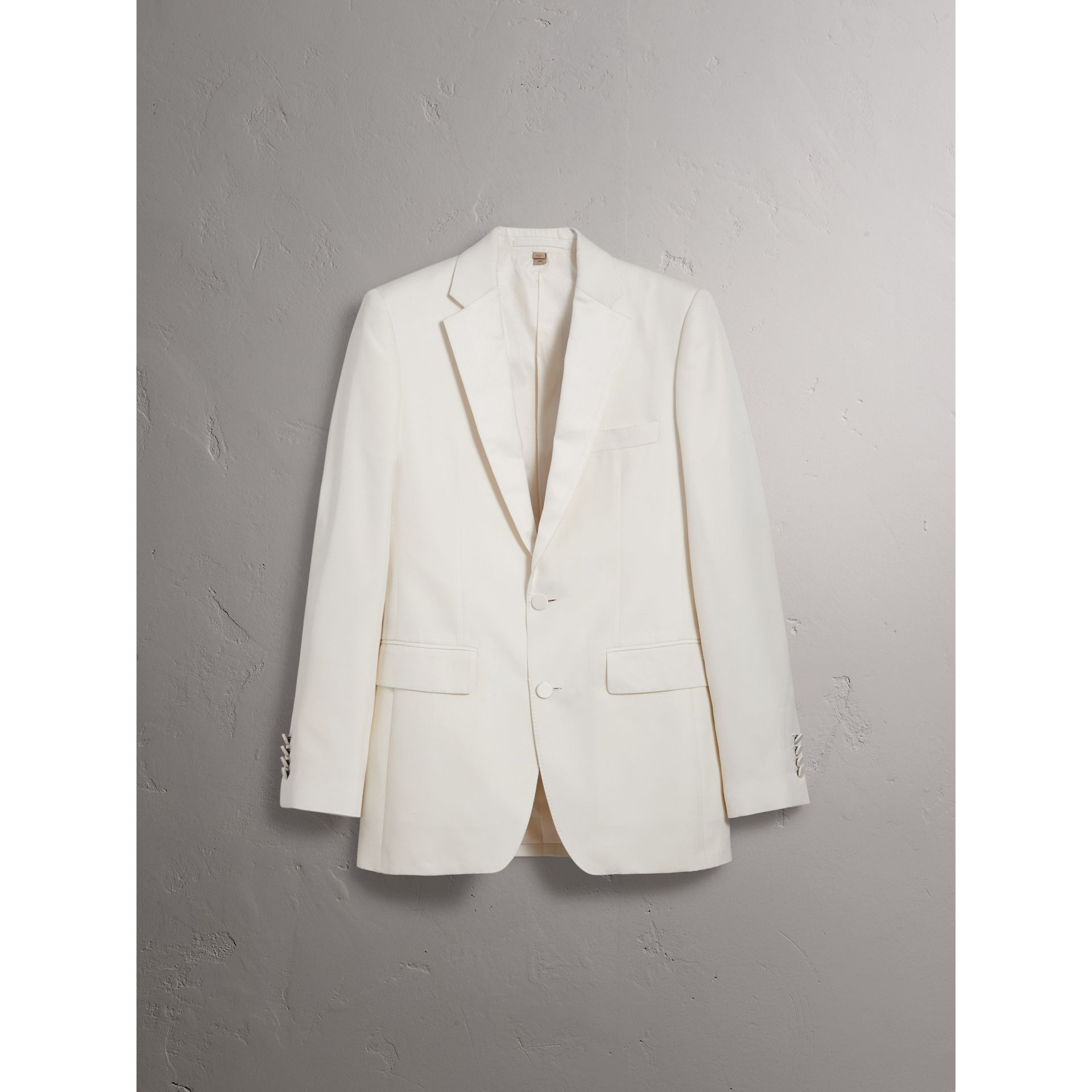 Slim Fit Silk Evening Jacket in Off White - Men | Burberry United Kingdom - gallery image 3
