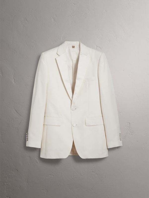 Slim Fit Silk Evening Jacket in Off White - Men | Burberry - cell image 3