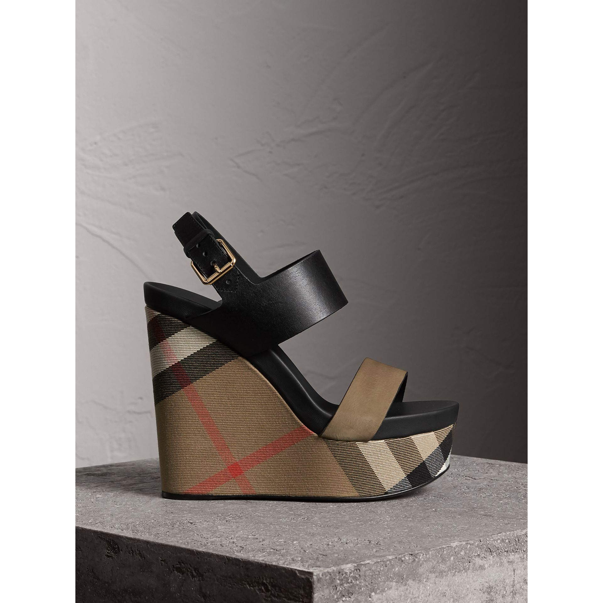 House Check Leather and Calf Suede Platform Wedges in Dark Heather Melange - Women | Burberry Australia - gallery image 1